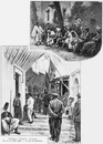 Algériens - Tunisiens - Exotiques.Une rue du vieil Alger.- Le coin des papotages.1900年博 エキゾティックなアルジェリアとチュニジアの人々 -アルジェの古い街角 - おしゃべり